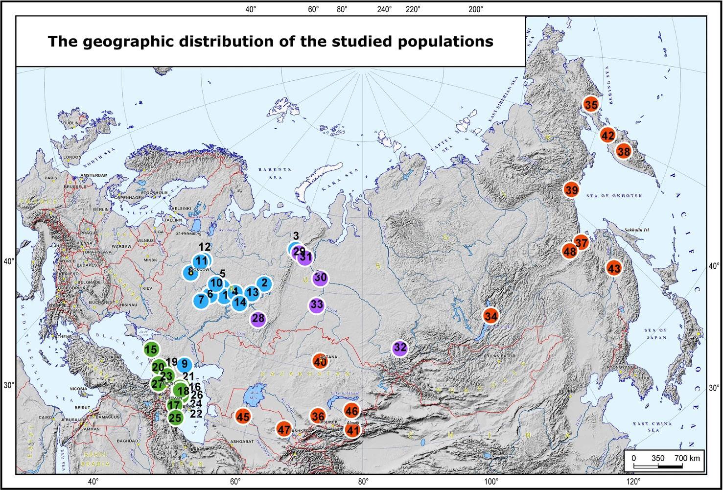 Географическое распределение представленных висследовании популяций