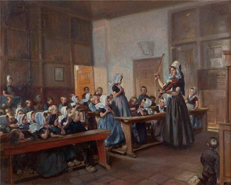 Макс Сильберт (Max Silbert). Урок пения вдетской школе вГолландии. 1907г.