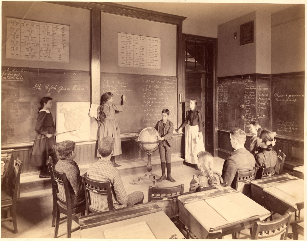 Классная комната мисс Кейт Хобарт, 11 ноября 1892 года, Horace Mann School. Фото— городской архив Бостона, коллекционный номер 420.047.
