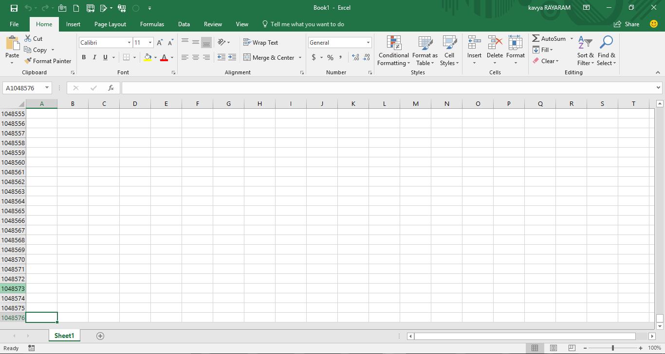 Последняя возможная строка таблицы Excel имеет номер 1 048 576