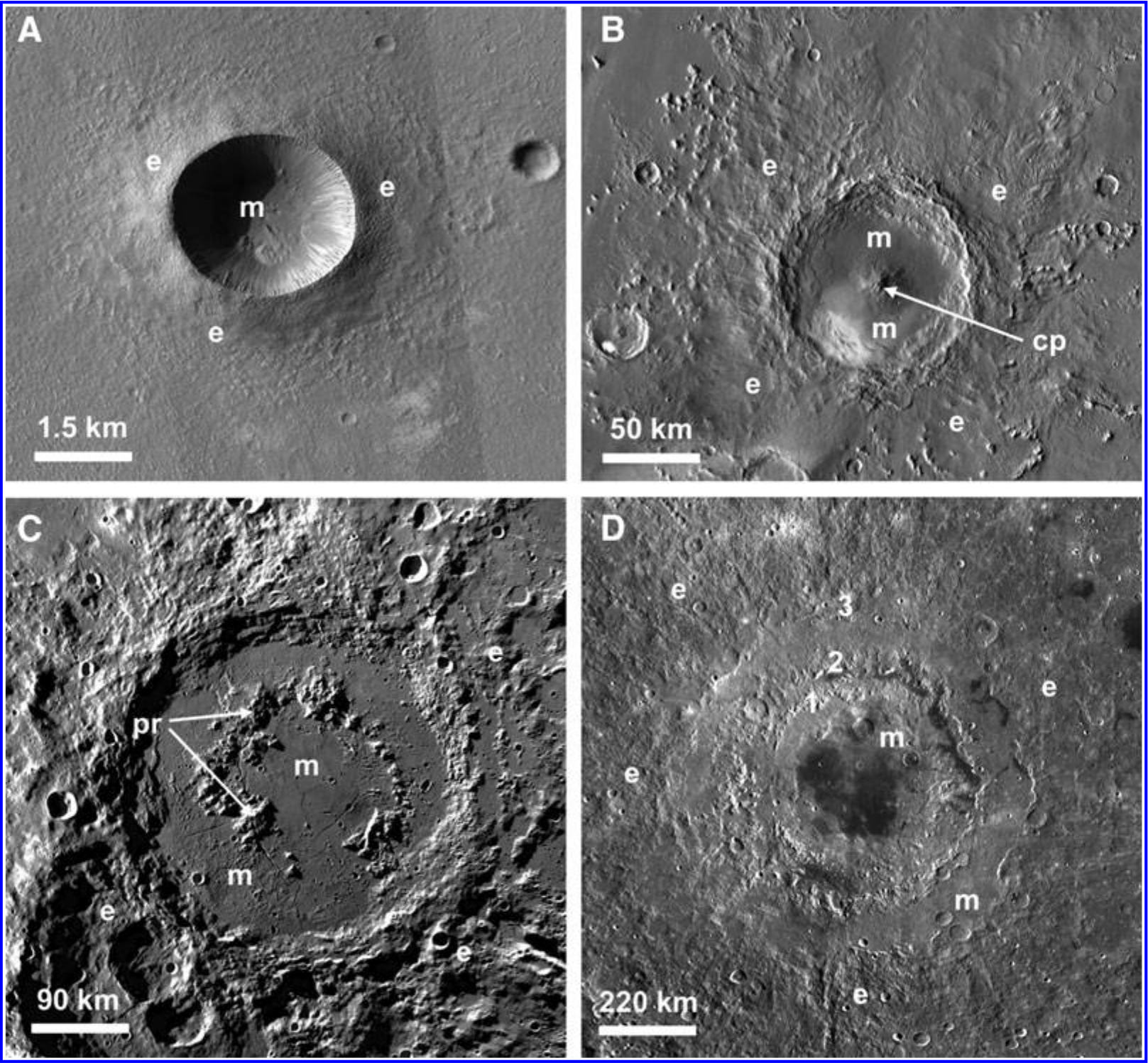 morphology of Lunar and Martian impact craters