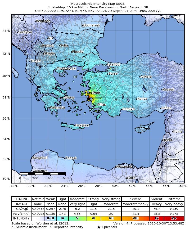 Izmir M7 earthquake intensity map