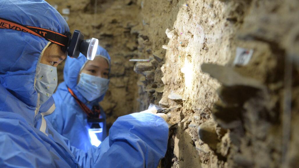 """Исследователи собирают образцы пород втибетской пещере, чтобы затем попытаться выделить из них <abbr lang=""""ru"""" title=""""Дезоксирибонуклеиновая кислота"""">ДНК</abbr>."""