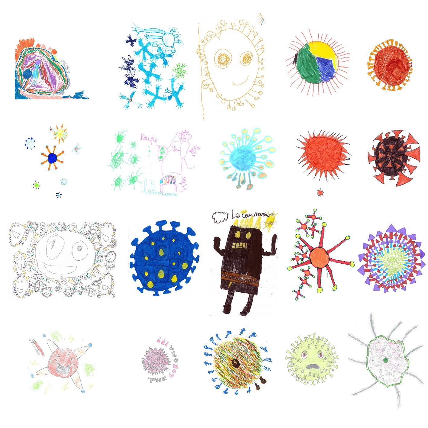 В каждом рисунке— коронавирус