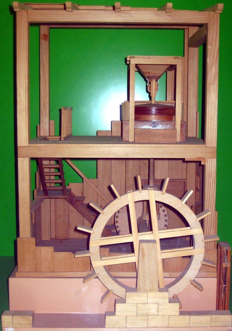 Модель водяной мельницы, описанной Витрувием