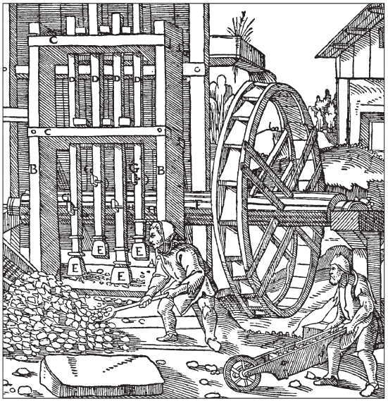 Средневековая дробилка руды. Гравюра Georgius Agricola (1494-1555).