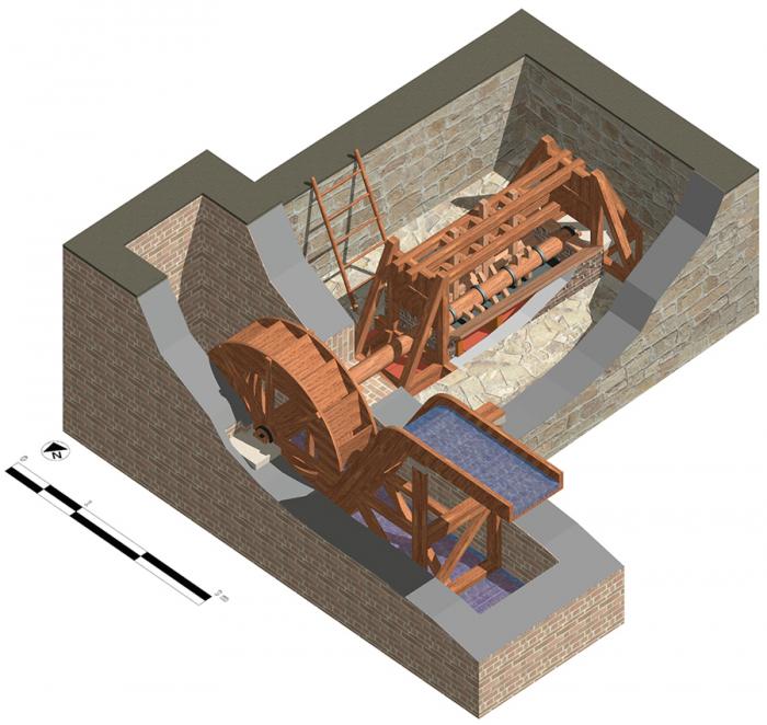 Реконструкция механизма для измельчения древесной коры, Саепинум, Италия.
