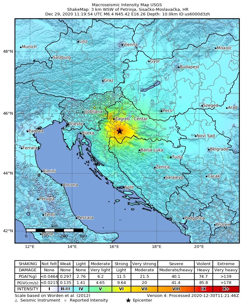 Croatia earthquake intensity map