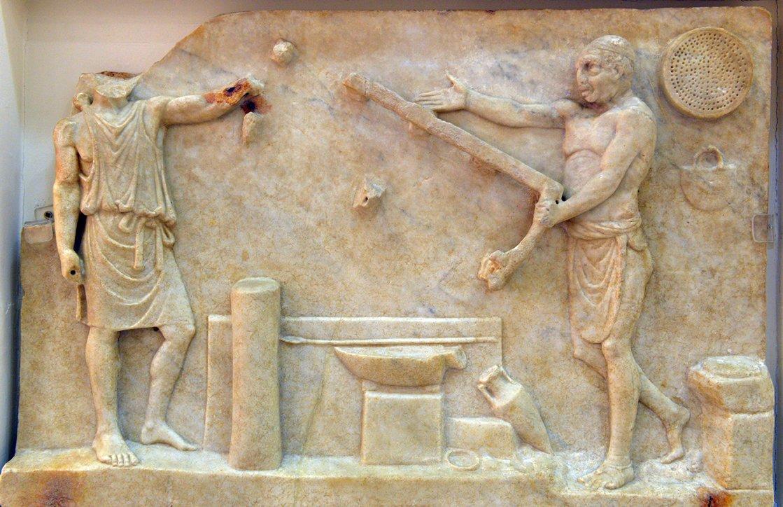 Рельеф из Остии сизображением рабочих по мрамору