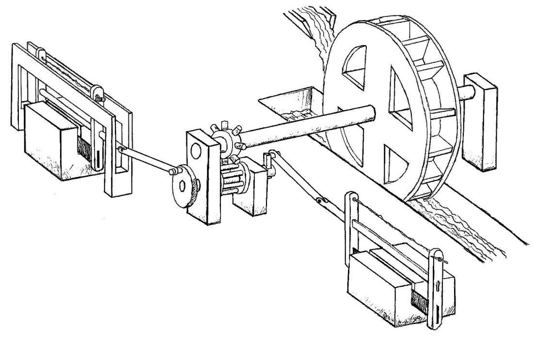Реконструкция механической пилы из Иераполиса (Ritti 2007)