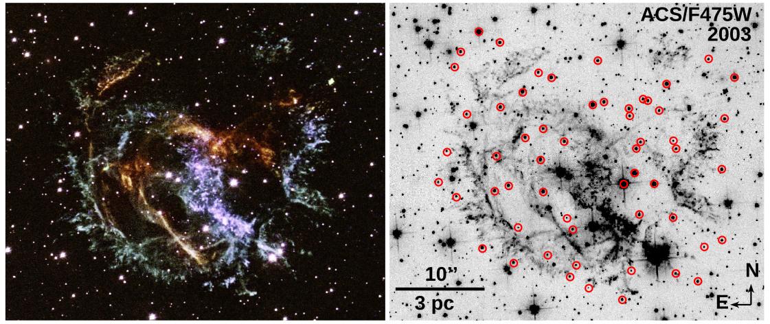 E0102 Hubble composite OIII line