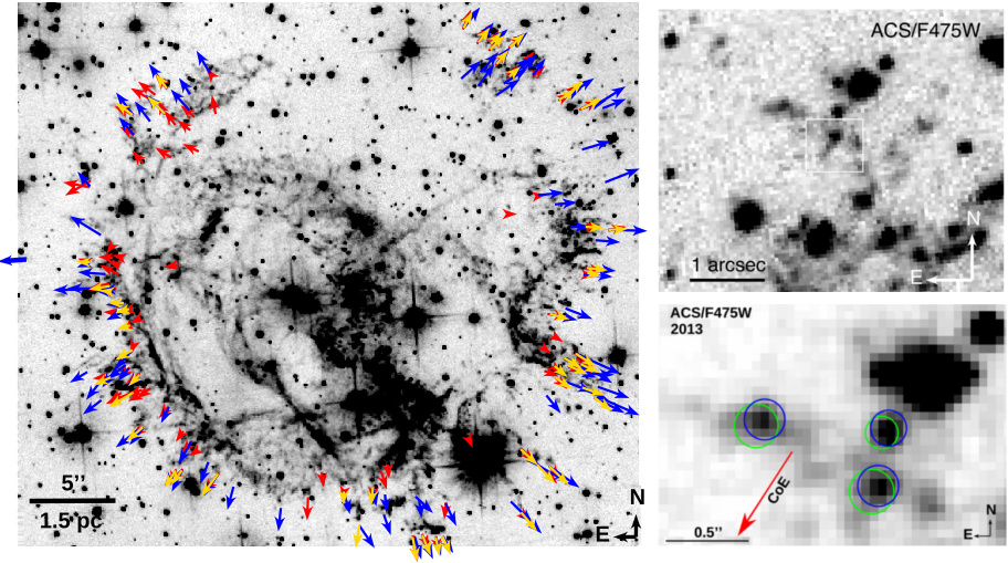 E0102 supernova remnants knot motion