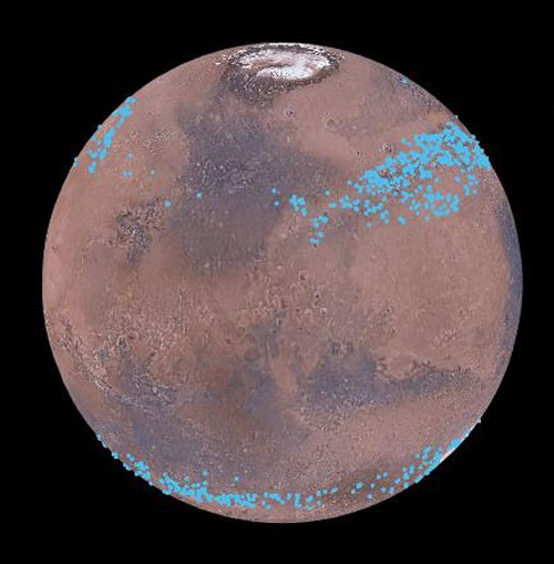 Martian glaciers distribution