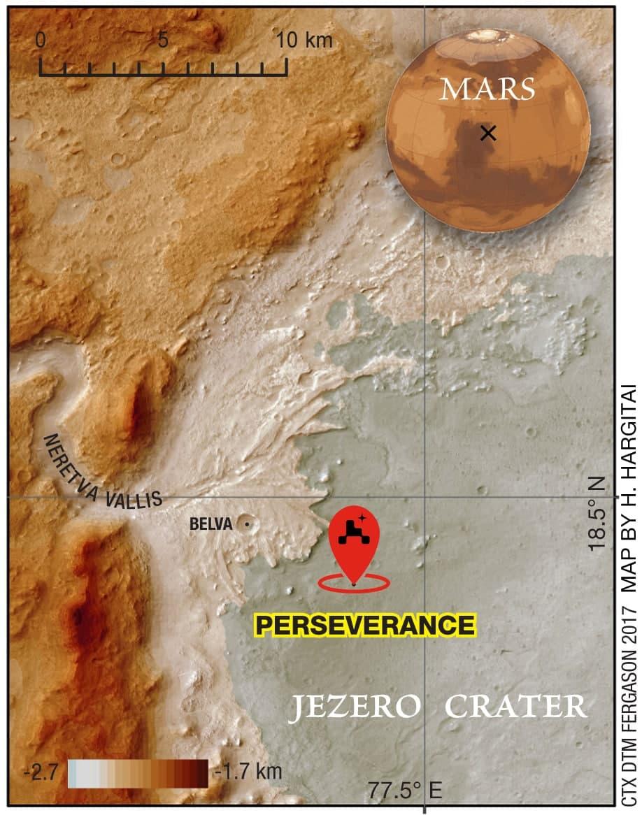 Perseverance actual landing site