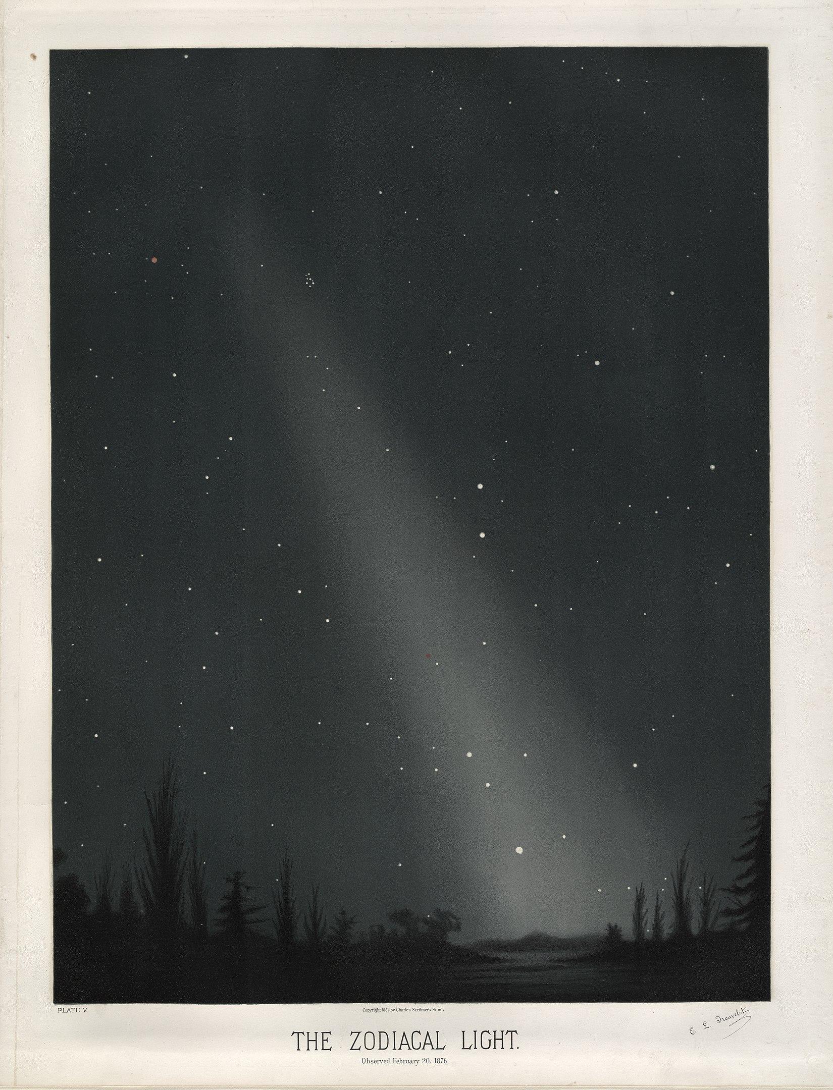 Zodiacal lights by E.Trouvelot