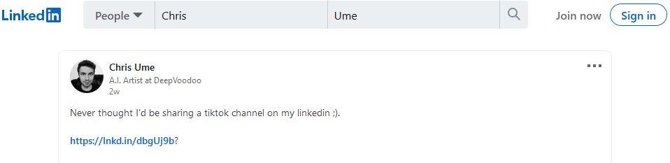 Крис Уме: «Не представлял, что буду давать ссылку на<i>tiktok</i> в<i>linkedIn</i> ;)».