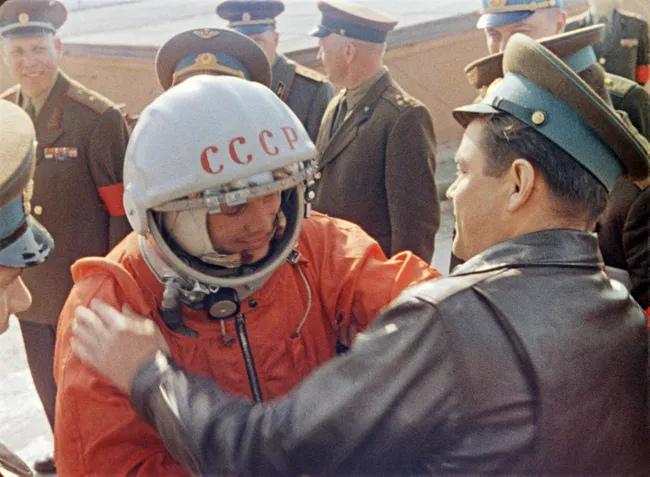 Gagarin at Baikonur before launch