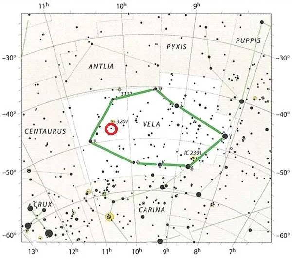 Vela constellation location chart