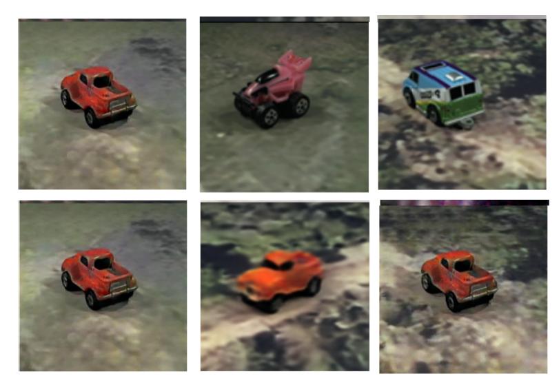 Пример работы модели: объект оранжевая машинка сначала поставлен нейросетью впозицию, вкоторой надругом изображении стоит розовая машинка, азатем перемещён нафон скартинки сбело-зелёно-голубой машинкой. Выглядит пока неслишком впечатляюще, но— лиха беда начало
