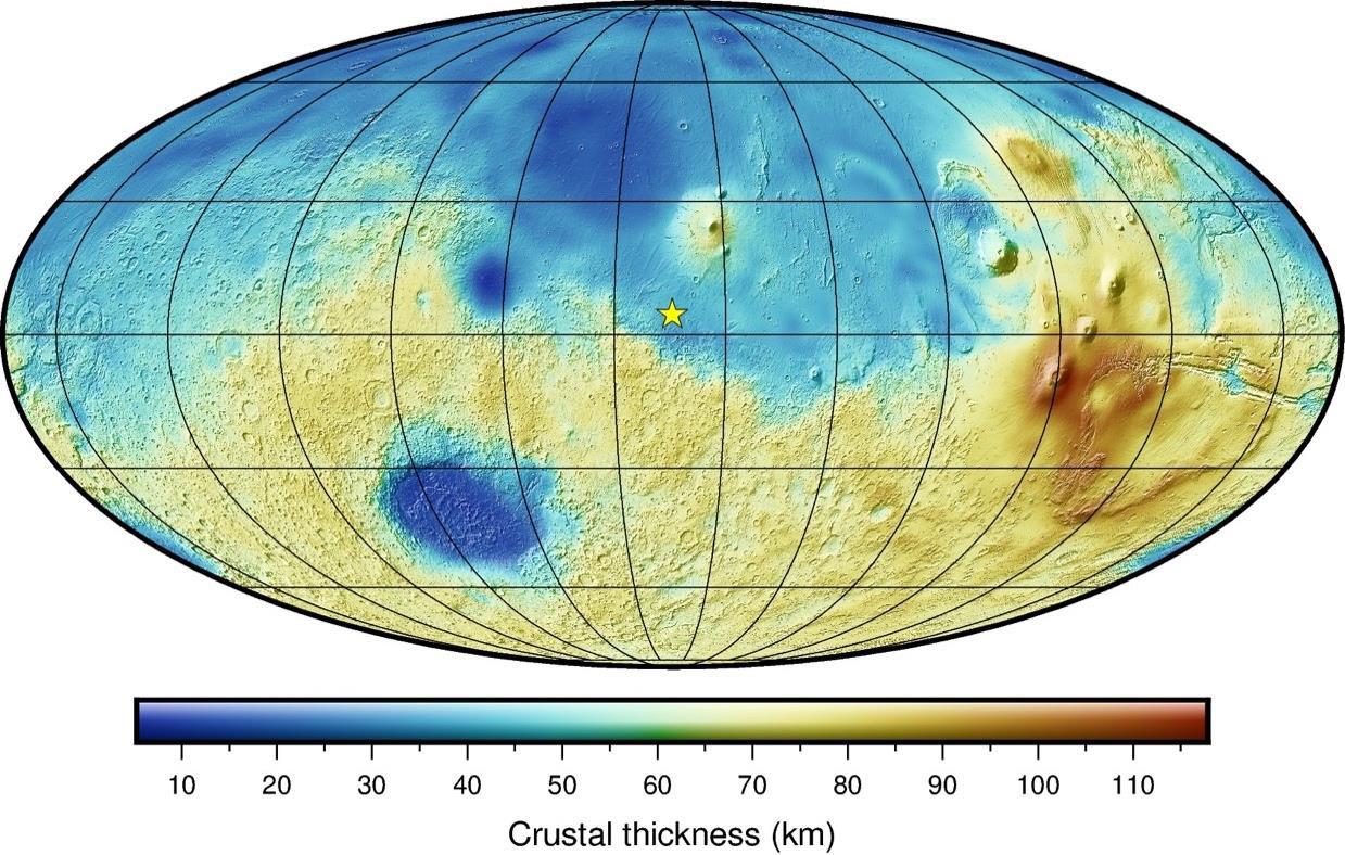 Modeled Mars crustal thickness