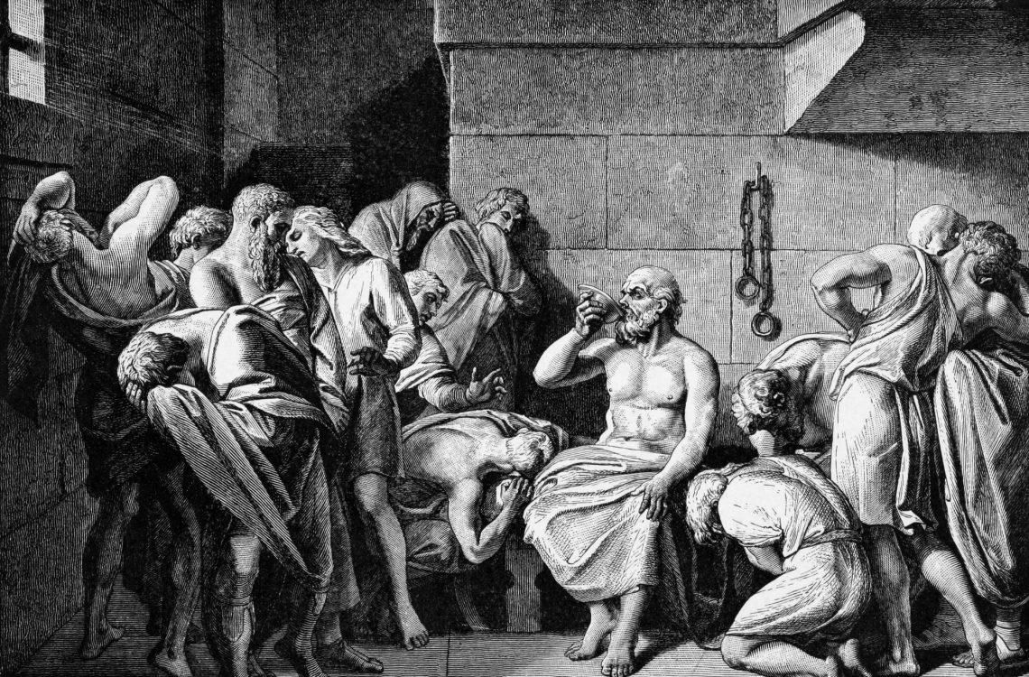 Сократ пьёт цикуту. Гравюра 1882 года