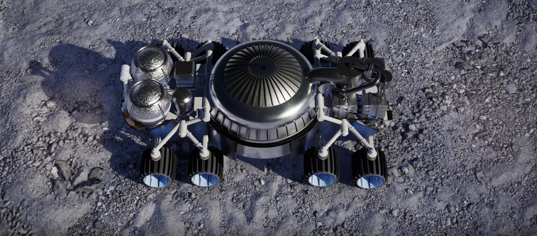 Rocket Mining system on lunar rover