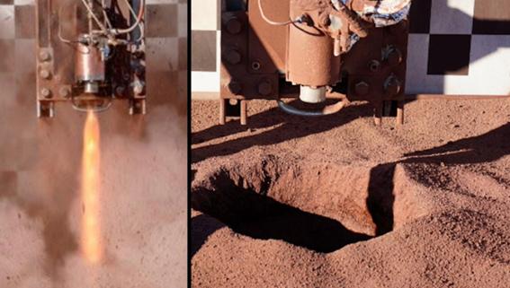 rocket plume test on lunar regolith simulant