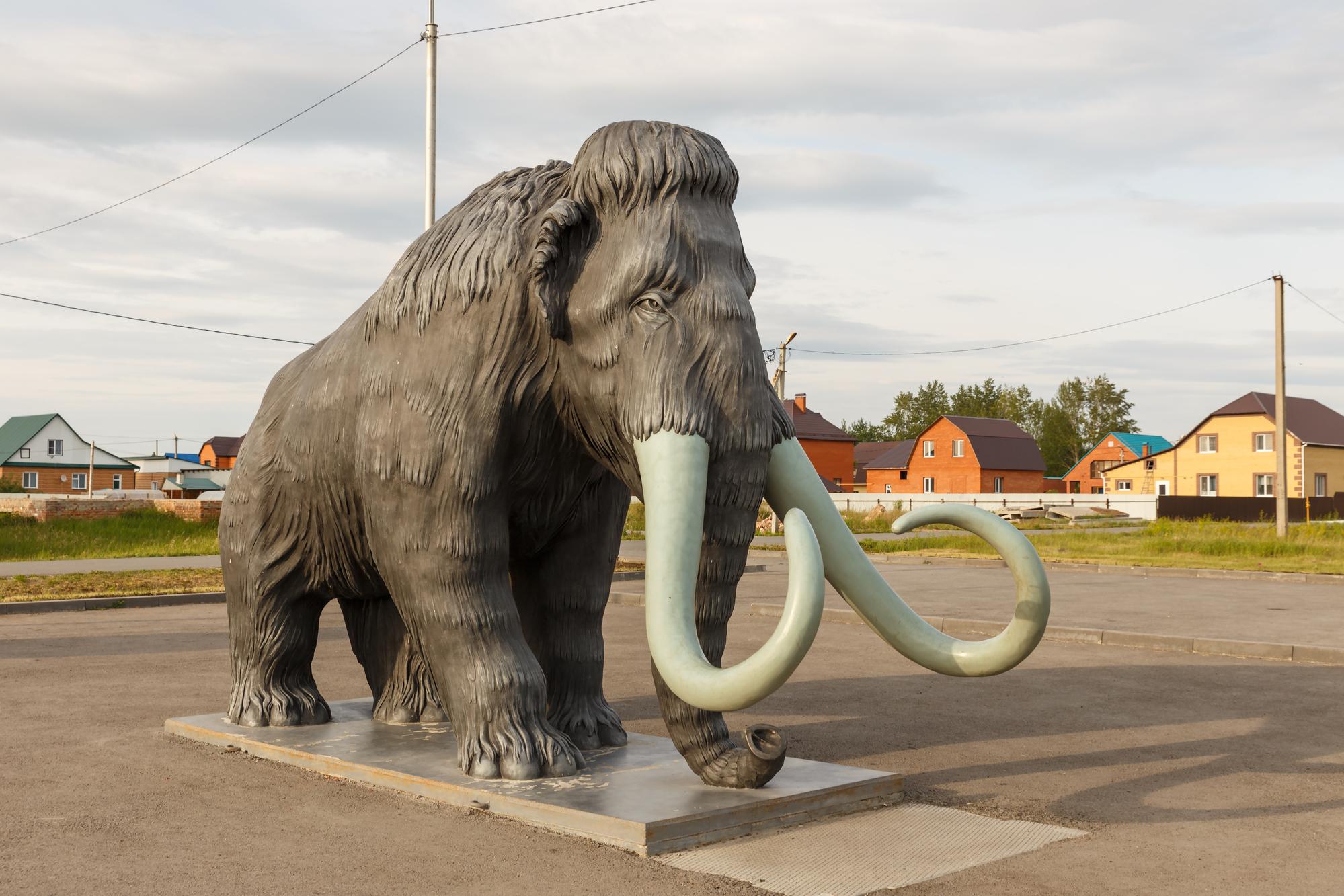 Памятник мамонту вселе Абатское Тюменской области, Россия.