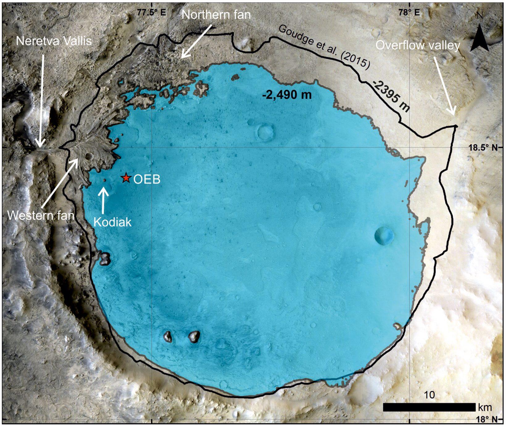Jezero inferred lake level
